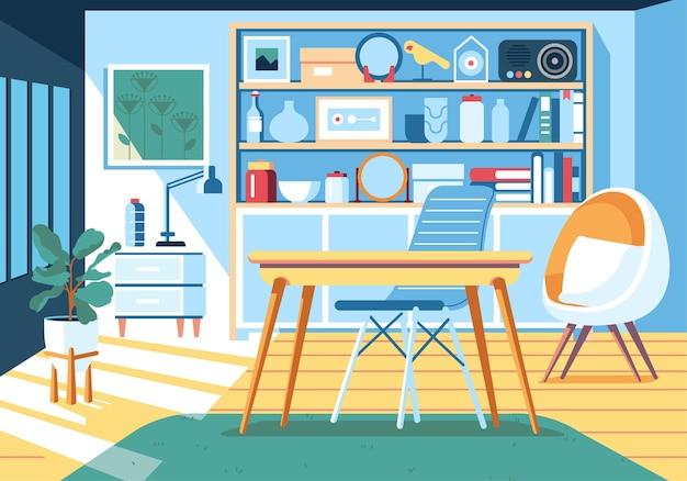 Interieur des modernen minimalistischen arbeitsraumdesigns