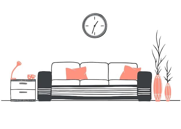 Interieur im skandinavischen stil. ein teil des raumes. hand gezeichnete illustration eines skizzenstils. Premium Vektoren