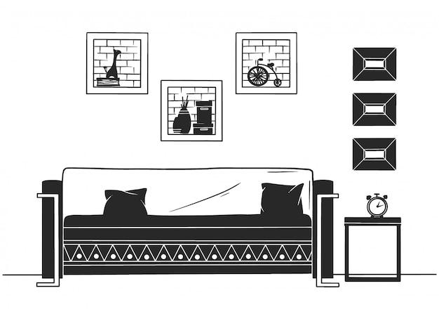 Interieur im skandinavischen stil. ein teil des wohnzimmers. handgezeichnete vektor-illustration