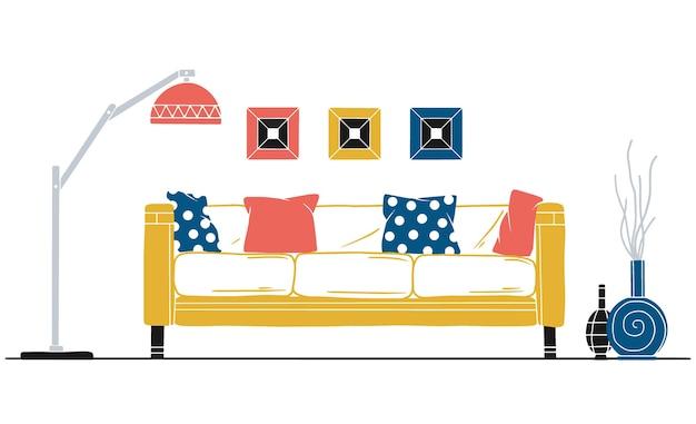Interieur im skandinavischen stil. teil des wohnzimmers. hand gezeichnete illustration eines skizzenstils.