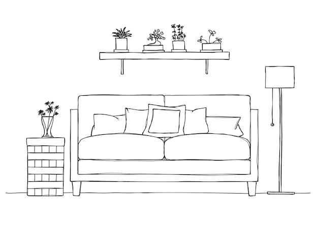 Interieur im skizzenstil. sofa, nachttisch, stehlampe und regal mit pflanzen.