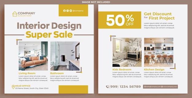 Interior design promotion feed instagram im modernen designstil