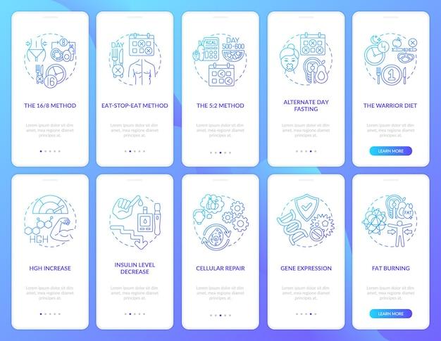 Intermittierendes fasten blau onboarding mobile app seitenbildschirm mit festgelegten konzepten