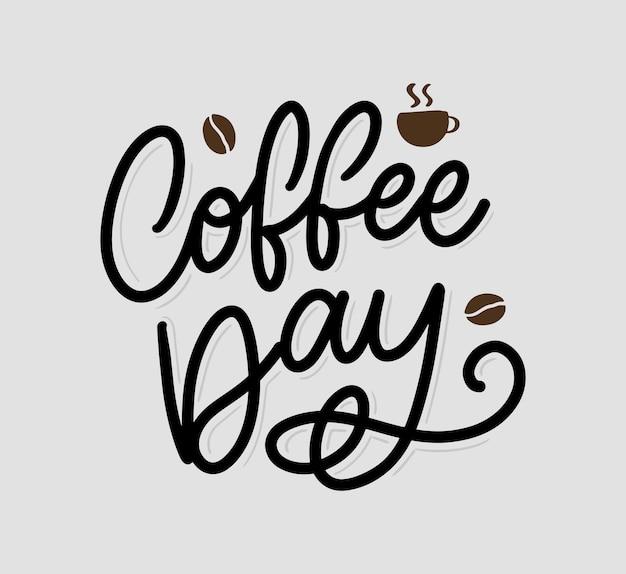 International coffee day schriftzug mit kaffeebohnen. illustration