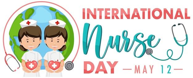 International nurse day logo mit niedlichen krankenschwester auf globus