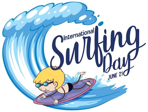 International surfing day schriftart mit einem jungen, der cartoon-figur surft