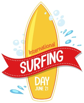 International surfing day schriftart mit surfbrett banner isoliert