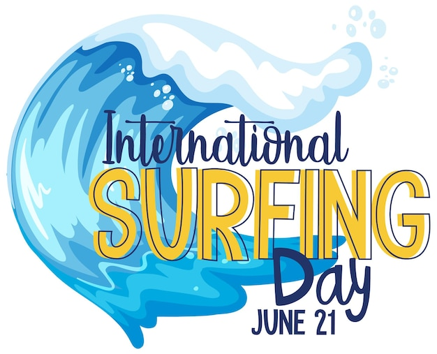 International surfing day schriftart mit wasserwellenbanner isoliert
