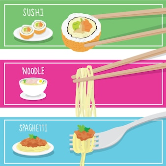 Internationale essen-sushi-nudel-spaghettikarikatur