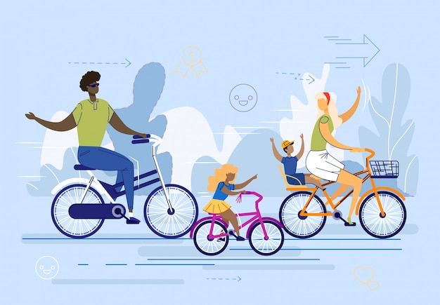 Internationale familie, paar mit kinderfahrrädern.