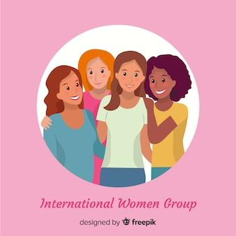 Internationale frauengruppe mit flachem design