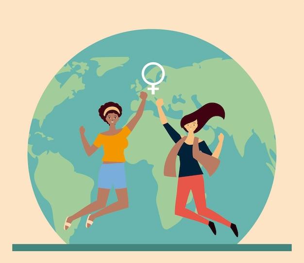 Internationale frauentagmarschmädchen zusammen aktivistenillustration