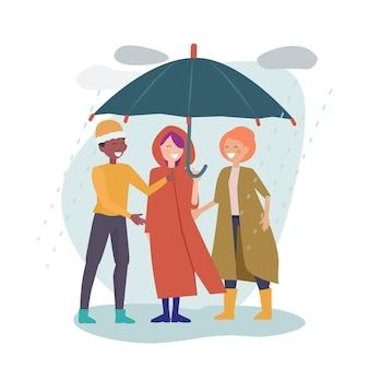 Internationale freundschaft. multikulturelle freunde stehen zusammen unter einem dach. regnerischer tag, glückliche mannfrau in der herbstkleidungsvektorillustration. regenschirmschutz, vor regen schützen