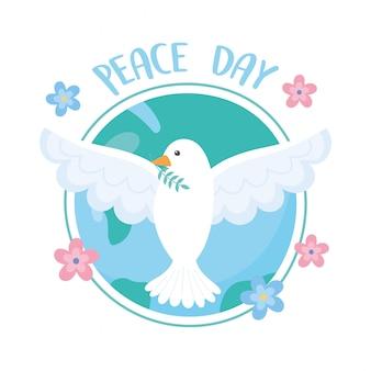 Internationale friedenstag-taube mit zweig in schnabelwelt blüht karikaturvektorillustration