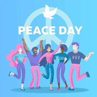 Internationale friedenstagesgrußkarte mit taubensymbol. fünf menschen verschiedener rassen, nationalitäten umarmen sich.