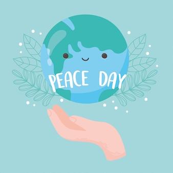 Internationale friedenstaghand mit globuskarte verlässt laubkarikaturvektorillustration