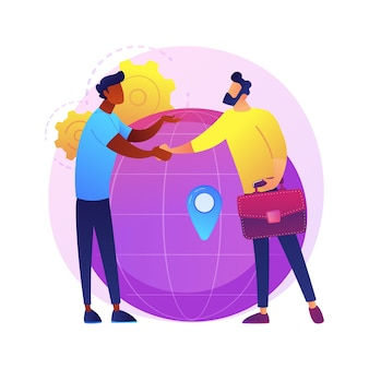 Internationale geschäftliche zusammenarbeit. geschäftsfrau und geschäftsmann händeschütteln. globale zusammenarbeit, vereinbarung, internationale partnerschaft.