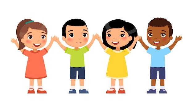 Internationale gruppe von jungen glücklichen kindern das konzept des kinderurlaubs niedliche zeichentrickfiguren