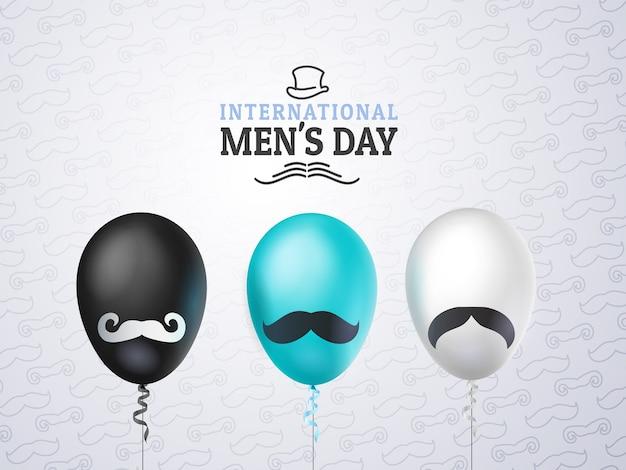 Internationale herren- oder vatertagsgrußkarte, luftballons schwarz, weiß, blau mit schnurrbart