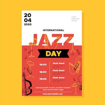 Internationale jazz day flyer vorlage im flachen design