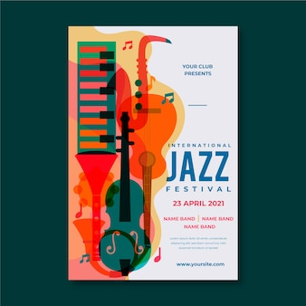 Internationale jazz day flyer vorlage