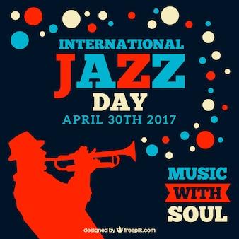 Internationale jazz-tag hintergrund mit dem trompeter und farbigen kreisen