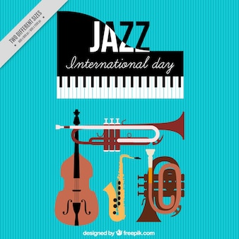 Internationale jazz-tag hintergrund mit musikinstrumenten