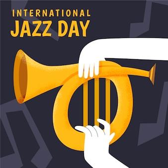 Internationale jazz-tagesillustration mit hand, die waldhorn hält