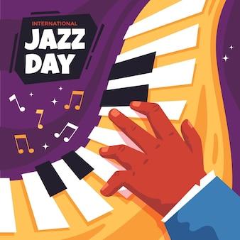Internationale jazz-tagesillustration mit klaviertasten