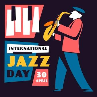 Internationale jazz-tagesillustration mit mann, der saxophon spielt