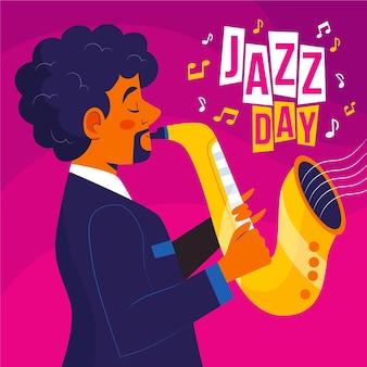 Internationale jazz-tagesillustration mit mann und saxophon