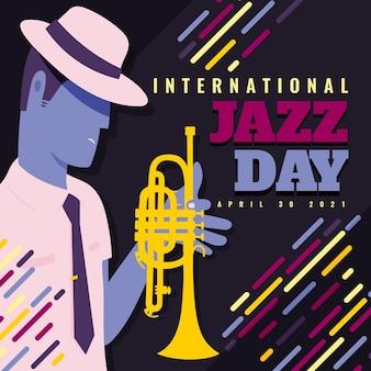 Internationale jazz-tagesillustration mit mann und trompete