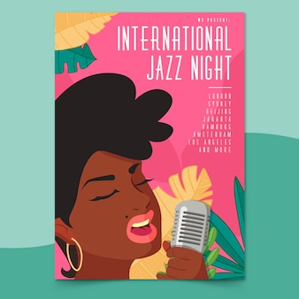 Internationale jazz-tagesplakatschablone im flachen design