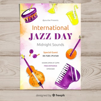 Internationale jazztag-plakatschablone des aquarells