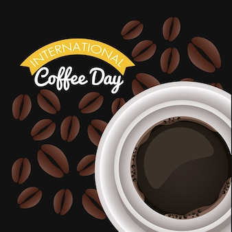 Internationale kaffeetagsfeier mit luftansicht der tasse und der bohnen