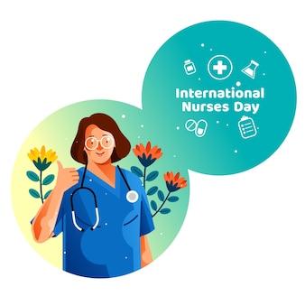 Internationale krankenschwestern-tageskarte mit nurse show finger thumb up für gutes zeichen