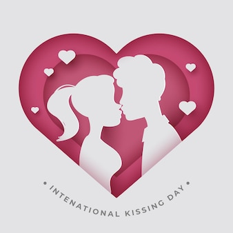 Internationale kuss-tagesillustration im papierstil