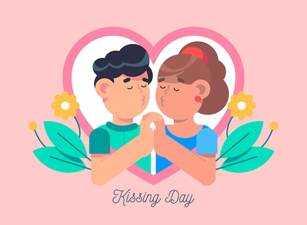 Internationale kuss-tagesillustration mit paarküssen