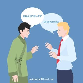 Internationale menschen sprechen verschiedene sprachen