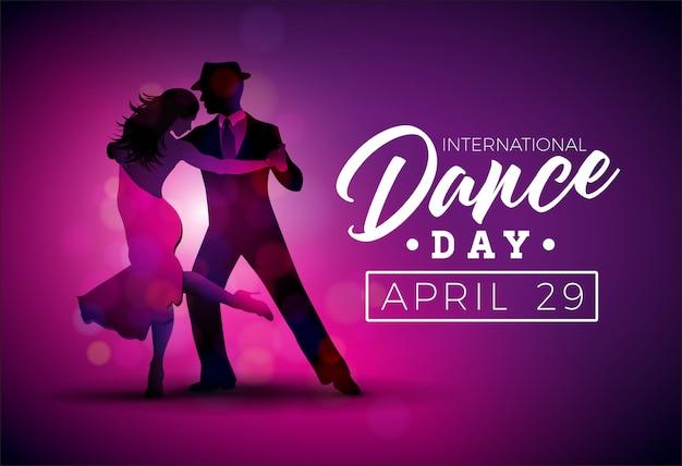 Internationale tanz-tagesvektor-illustration mit tangotanzenpaaren auf purpurrotem hintergrund