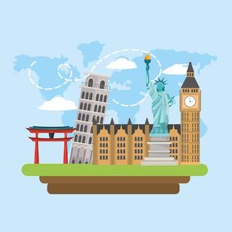 Internationale touristenreise und globales reiseziel