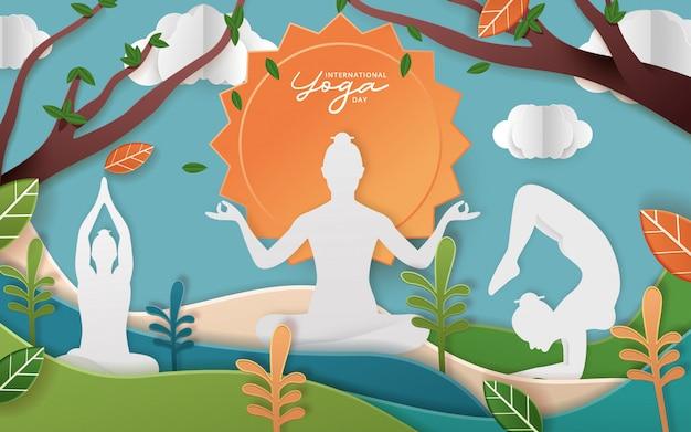 Internationale yoga-tagesillustration