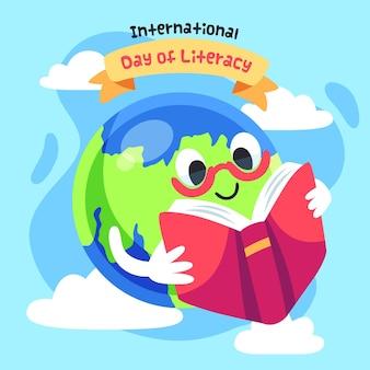 Internationaler alphabetisierungstag mit erde und buch