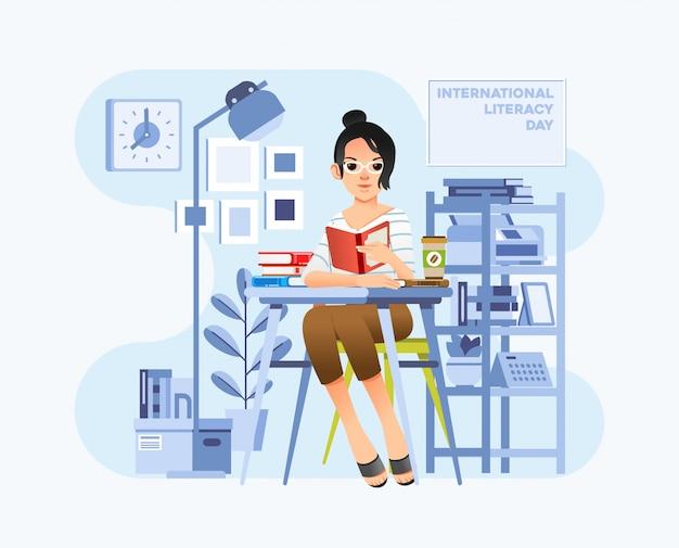 Internationaler alphabetisierungstag mit jungen frauen sitzen auf stuhl und lesebuch auf schreibtisch in der büroraumillustration