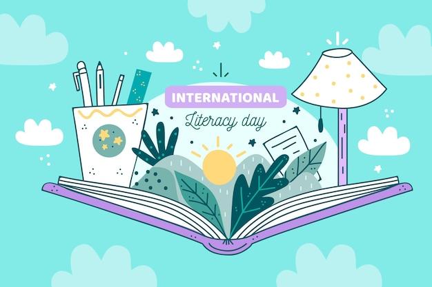Internationaler alphabetisierungstag mit offenem buch