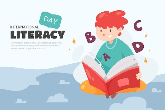 Internationaler alphabetisierungstag mit person, die buch liest