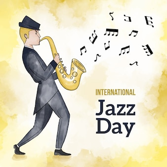 Internationaler aquarell-jazz-tag