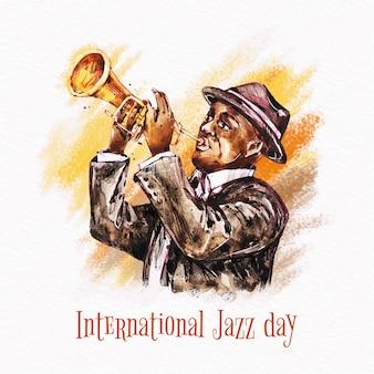 Internationaler aquarell-jazz-tag