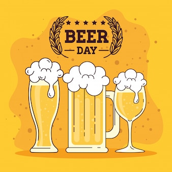 Internationaler biertag, august, gläser bier