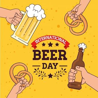 Internationaler biertag, august, mit händchen haltend, becherglas und flasche bier, brezel